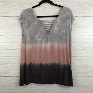 American Eagle Tie Dye Colorblock Ladder Strap Top